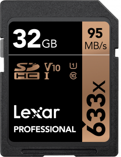 Lexar Professional 633x SDHC 32GB Class 10 UHS-I V10 U1 (LSD32GCB633)