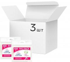 Упаковка ватных палочек Lady Cotton в полиэтиленовом пакете 3 пачки по 400 шт (41203433) (4823071643923)