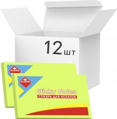 Набор бумаги для заметок KLERK с клейким слоем 76x50 мм 100 листов неон Зеленой 12 шт (Я45185_KL21517_12)