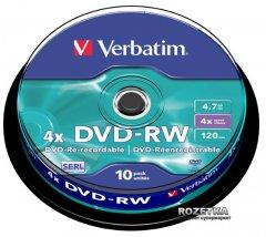 Verbatim DVD-RW 4,7 GB 4x Cake 10 шт (43552)