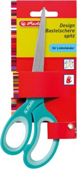 Ножницы детские Herlitz 17 см с резиновыми вставками для левши Голубые (10897171L)