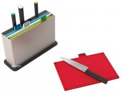 Набор Joseph Joseph Index 4 разделочных доски 30x20 см + 4 ножа + подставка Серебряная (60096)