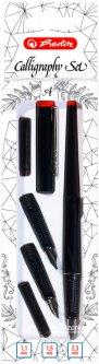 Ручка перьевая для каллиграфии Herlitz Calligraphy Set 3 сменных пера Черный корпус (8623001)