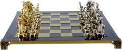 Шахматы Manopoulos Греко-Римские, латунь в деревянном футляре, синий, 44 х 44 см, вес 5.9 кг (S11BLU)