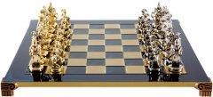 Шахматы Manopoulos Мушкетеры, латунь, в деревянном футляре, синий, 44 х 44 см, вес 5.9 кг (S12BLU)