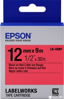 Картридж с лентой Epson LabelWorks LK4RBP 12 мм 9 м Black/Red (C53S654007)