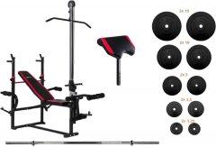 Скамья для жима с тягой и тренажерами RN-Sport + штанга 75 кг (ES1070_75)