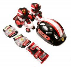 Набор роликовые коньки Ferrari размер 30-33 + комплект защиты Белый (6947045687572)