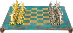 Шахматы Manopoulos Греко-римские, латунь, в деревянном футляре, бирюзовий, 44 х 44 см, 5.9 кг (S11TIR)