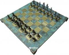 Шахматы Manopoulos Кикладское искусство, латунь, в деревянном футляре, бирюзовые, 44 х 44 см (S23BTIR)