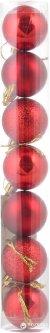 Набор елочных шаров Новогодько (YES! Fun) 40 мм 7 шт Красный (972535) (5056137103669)