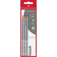 Набор графитовых карандашей Faber-Castell Grip 2001 твердостью HB Cерый 3 шт + ластик в блистере (117197)