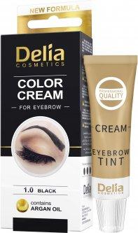 Крем-краска для бровей Delia cosmetics с маслом арганы 1.0 Черный 15 мл (5906750825991)
