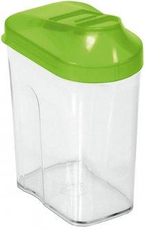 Контейнер для сыпучих продуктов BranQ Easy Way с дозатором прозрачный с зеленой крышкой 1.5 л (BRQ-8124.1)