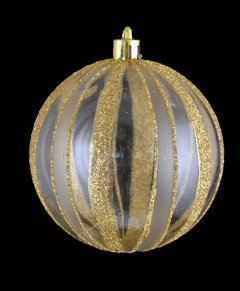 Шар Новогодько (YES! Fun) с полосками из глиттера 8 см Прозрачный с золотым (972876) (5056137109401)