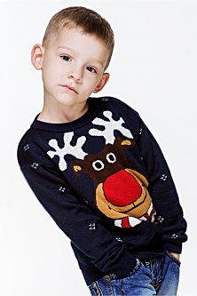 Свитер Рождественский с оленями детский FLEUR Lingerie 116 Синий