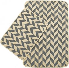 Набор ковриков в ванную комнату Izzihome Solo 40x60, 60x90 см Krem Gri Zigzag (2200000544919)
