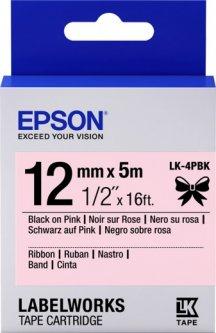 Картридж с лентой Epson LabelWorks LK4PBK 12 мм 5 м Black/Pink (C53S654031)