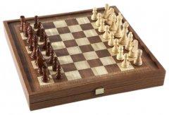 Набор ручной работы 3 в 1 Manopoulos, шахматы + нарды + шашки, фигуры и фишки деревянные, классические, 39 x 39 см, 3.6 кг (STP36E)