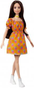 Кукла Barbie Модница в платье в горошек с открытыми плечами (GRB52)