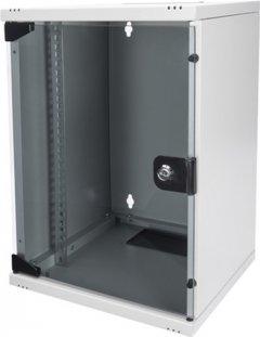 """Шкаф настенный серверный Digitus Professional 10"""" со стеклянной дверью 9U Серый (DN-10-09U)"""