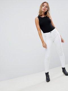 Білі джинси скінні з високою талією ASOS AS300521-19 L (79047L) Білий