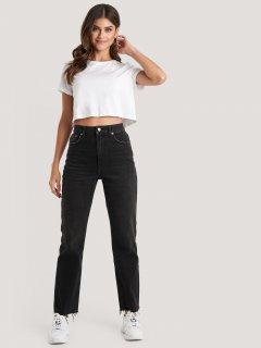 Прямі джинси з високою талією та необробленим краєм NA-KD 1018003424 2XS (845592XS) Чорний