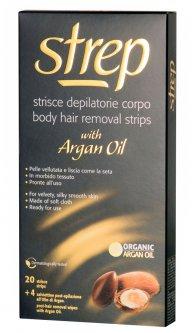 Восковые полоски для депиляции тела Strep Argan Oil Аргановое масло 20 шт + 4 салфетки (8002340011823)