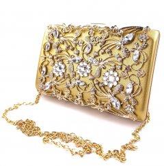 Стильный женский клатч со стразами Sana pari NXS-777 GOLD 17,4х11,5х4,8см золотистый