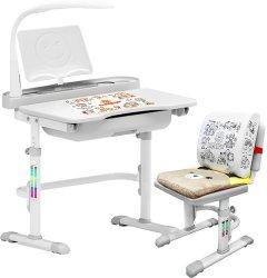 Комплект мебели Evo-kids Evo-17 (стул+стол+полка+лампа) Белый-серый (Evo-17 G)