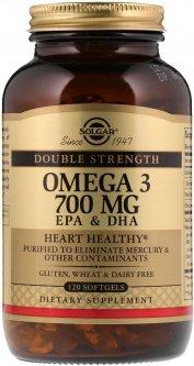 Натуральная добавка Solgar Double Strength Омега-3, ЭПК и ДГК 700 мг 120 капсул (033984020535)
