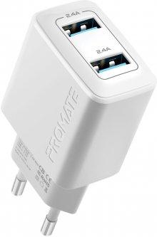 Сетевое зарядное устройство Promate BiPlug 12 Вт 2 USB White (biplug.white)
