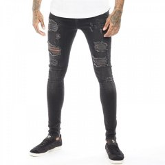 Джинси DFND London Rip & Repair Skinny Blackwash Faded Black Denim, 28W 28L (10402358)