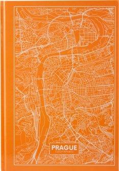 Записная канцелярская книга Axent Maps Prague А4 в твердой обложке 96 листов в клетку Персиковая (8422-542-A)