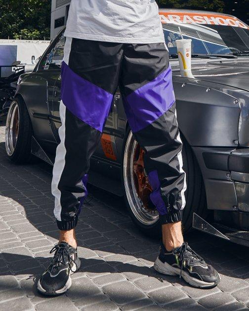 Теплые спортивные штаны Over Drive Split черно-белые с фиолетовым XS - изображение 1