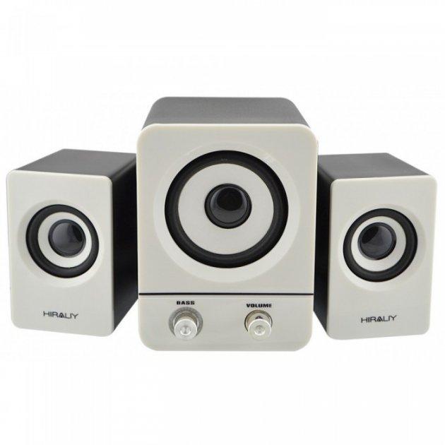 Комп'ютерні USB колонки для ПК 2.1 Hiraliy H1 Чорно-білі (45978) - зображення 1
