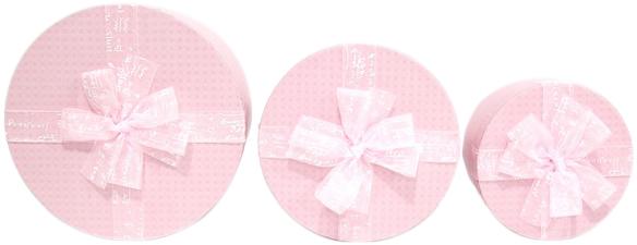 Набор подарочных коробок Ufo картонных 3 шт Розовых (80303-002 Набор 3 шт PINK круг.)