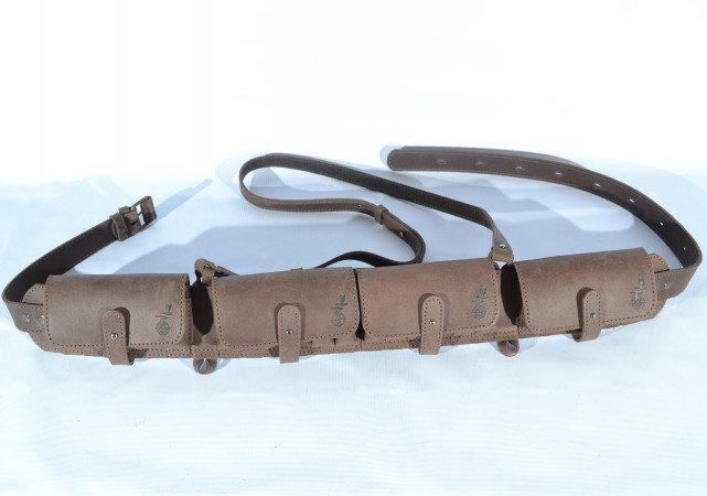 Закрытый патронташ на пояс, кожа Ретро, на 24 патрона 12-16 калибра, цвет Коричневый (10301/2) - изображение 1