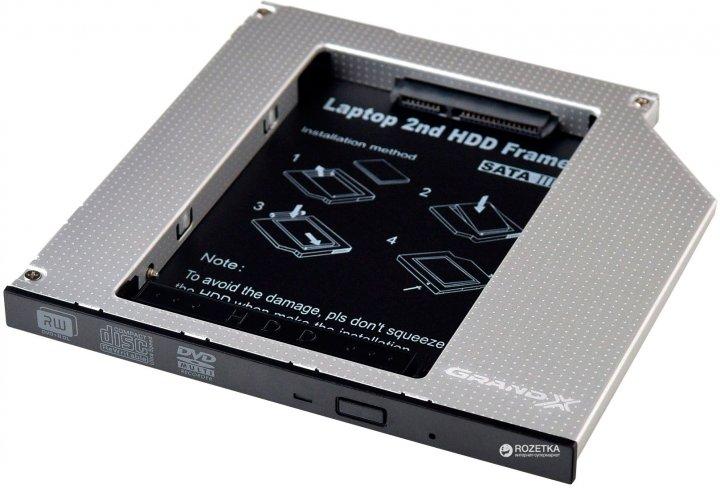 """Адаптер підключення Grand-X HDD 2.5"""" в відсік приводу ноутбука SATA/mSATA (HDC-24) - зображення 1"""