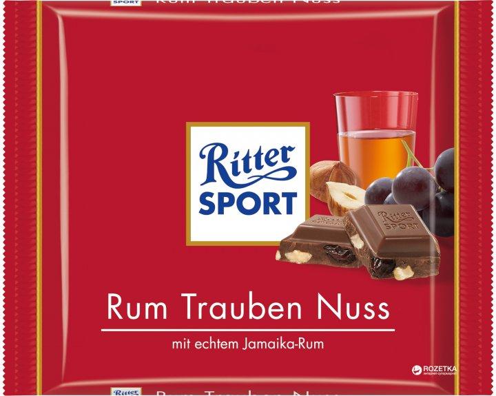 Шоколад Ritter Sport Молочный с ямайским ромом, изюмом и орехами 100 г (4000417012005) - изображение 1