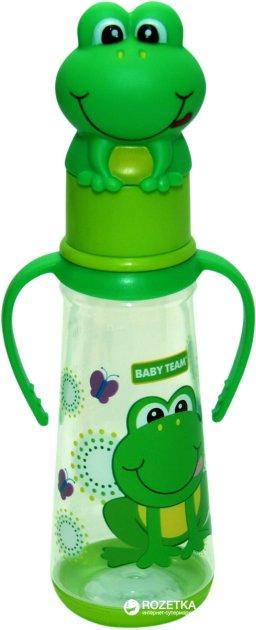 Бутылочка для кормления с силиконовой соской Baby Team с ручками 0+ 250 мл Лягушенок (1414_Лягушенок) - изображение 1