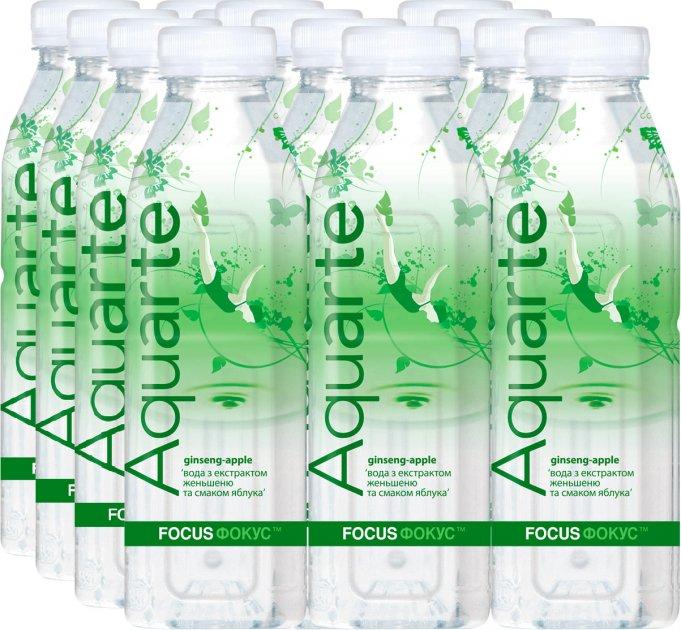 Упаковка функціональної води Aquarte Фокус з екстрактом женьшеню і смаком яблука 0.5 л х 12 пляшок (4820003687239_4820003686928) - зображення 1
