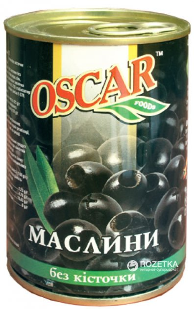 Маслины черные без косточки Oscar 425 г (8436024292107) - изображение 1