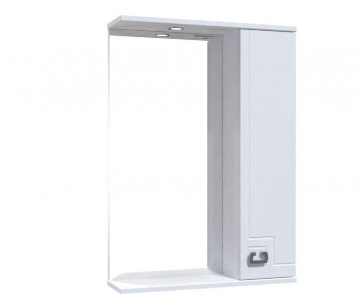Зеркало со шкафчиком и подсветкой Aquarius Лаура 55 02565 белое (59371) - изображение 1