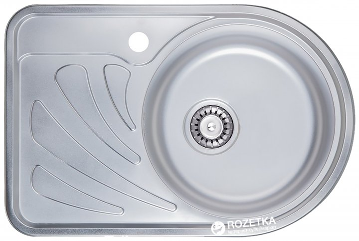 Кухонна мийка ULA 7111 ZS microDecor правобічна + сифон ULA - зображення 1