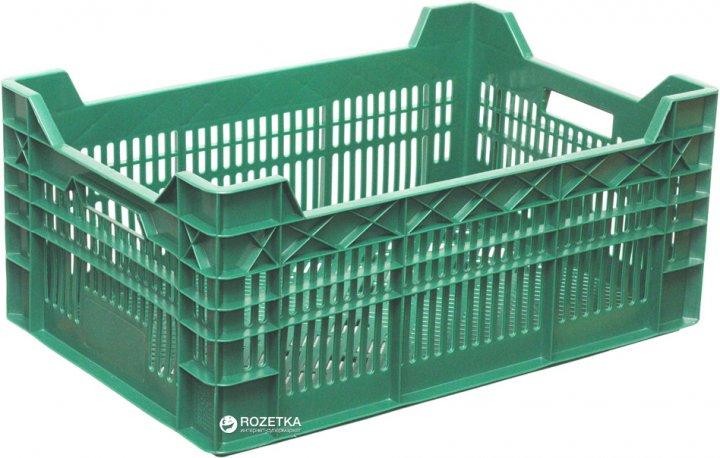 Ящик пластиковый перфорированный Полимерцентр 600х400х260/220 мм Зеленый (ST6426R-3.1-GR)
