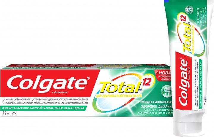 Комплексная зубная паста Colgate Total 12 Профессиональная Здоровое дыхание Антибактериальная 75 мл (7509546067094) - изображение 1