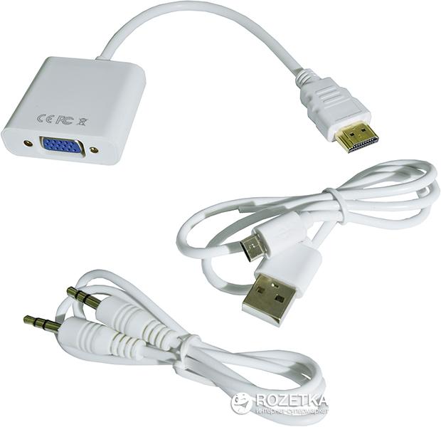 Адаптер STLab HDMI - VGA, 0.15 м з аудіокабелем та кабелем живлення від USB White (U-990 white) - зображення 1