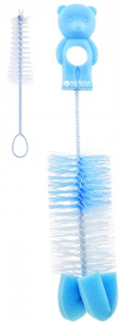 Йоржик з губкою для миття пляшок і сосок Canpol Babies (2/410 Ведмедик Блакитний) - зображення 1