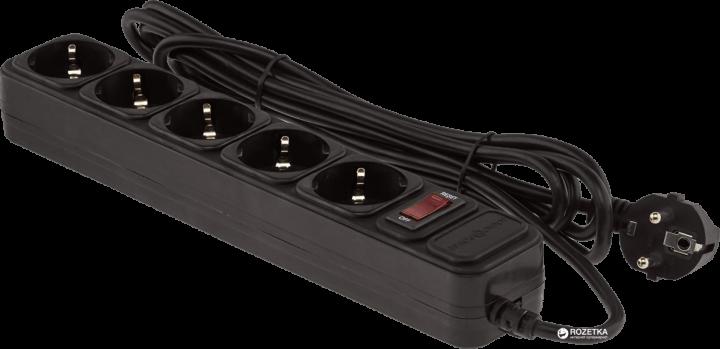 Мережевий фільтр LogicPower LP-X5 3 м 5 розеток Black (LP1946) - зображення 1